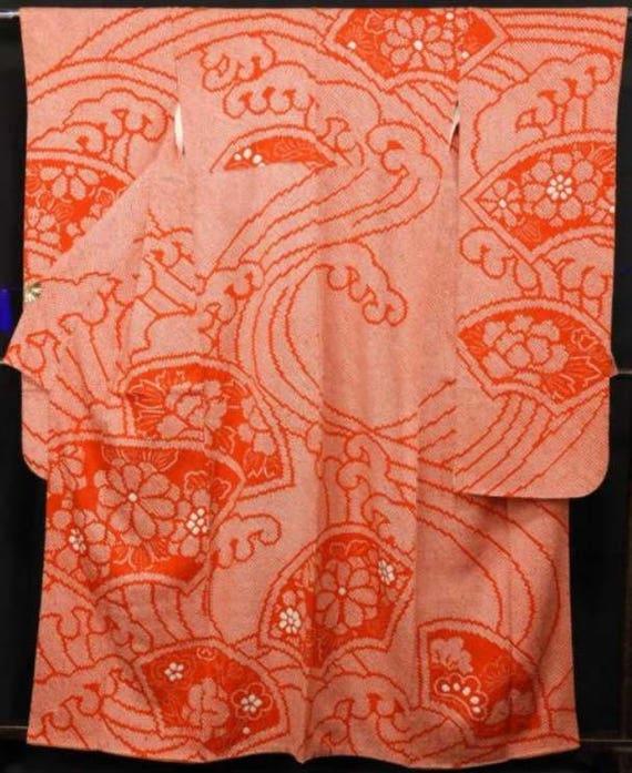 furisode, Orange kimono, vintage kimono, vintage k