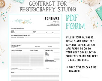 Photography Contract Etsy