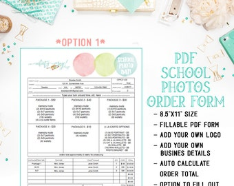 pdf school photography sales order form template with proof etsy