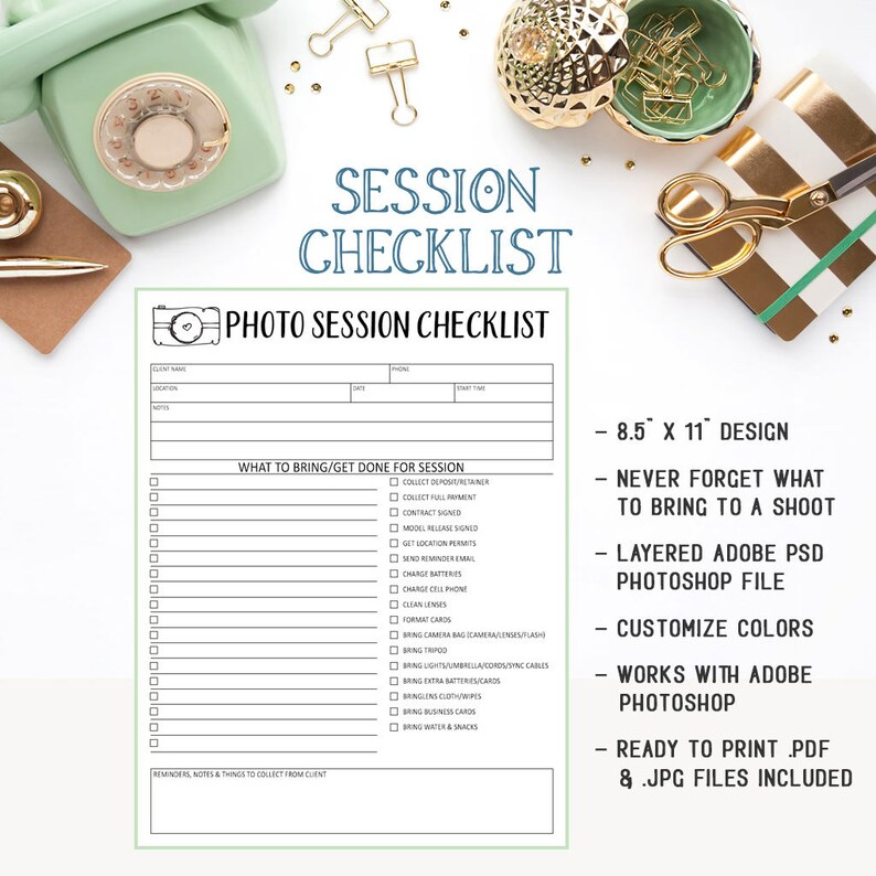 Photography Session Checklist Form For Portrait & Wedding Photographers  Available As An Instant Download PSD Photoshop File - INF105SN