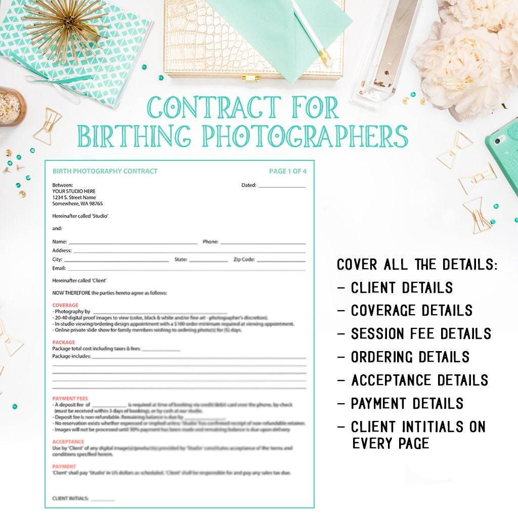 Birth Photography Contract Template For Portrait Photographer Etsy