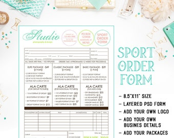 School Or League Sports Photography Order Form Available For Immediate Download As A Layered Photoshop PSD File - INF103BF