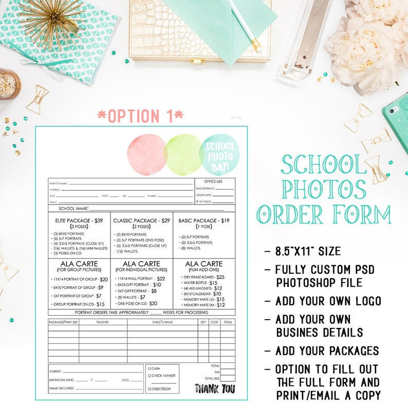 School Preschool Daycare Photography Order Form Template Etsy