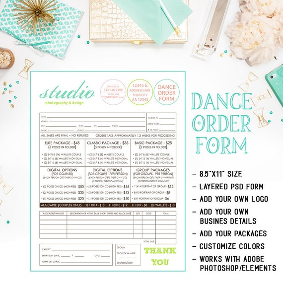School Dance Or Dance Team Photography Order Form Template Etsy