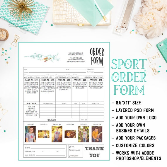 Psd School Photography Sales Order Form Template With Proof Etsy
