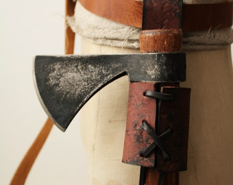 Made to Order Handmade Rustic Crazy Horse Brown Heavy Duty Leather Axe Frog  Axe Holder  Ax Frog  Ax Holder