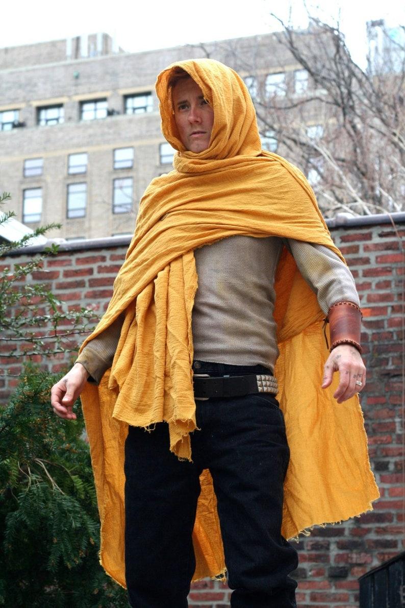 Golden Desert Wrap Cloak, lightweight cotton shemagh shawl wrap,  Moyamensing utility scarf, wasteland cowl barbarian peasant apocalyptic