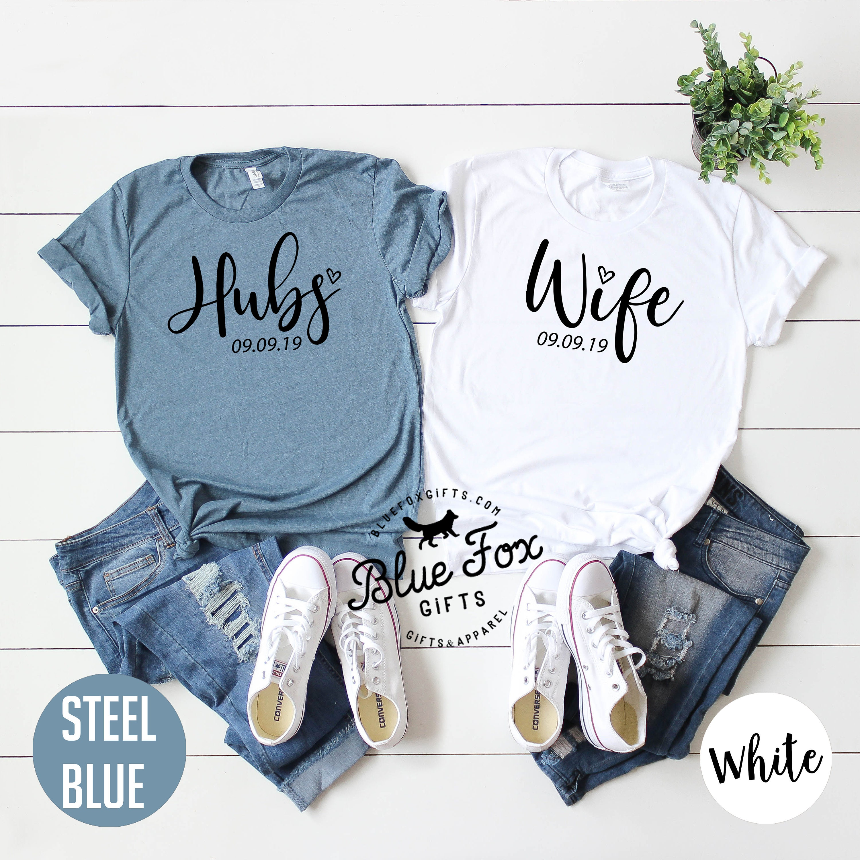 25f250437a Personalized Wife and Hubs Shirt set Newlywed shirts | Etsy