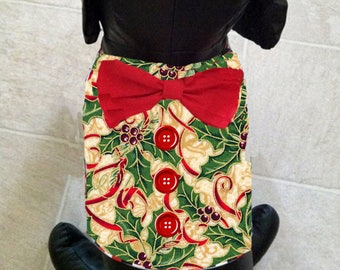 Christmas Holly Dog Vest with Bow Tie
