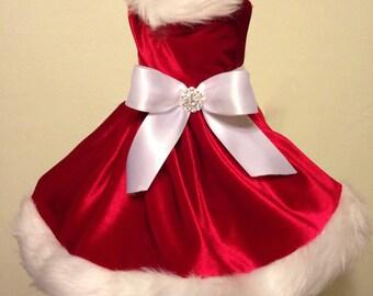 christmas santa girl dog dress
