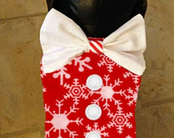 Christmas Snowflake Dog Vest with Bow Tie