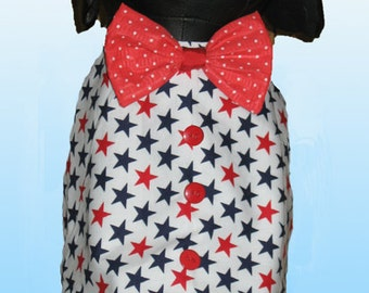 Stars and Dots Patriotic Dog Vest with Bow Tie