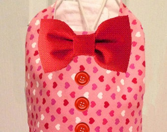 Valentine Multi Hearts Dog Vest with Bow Tie