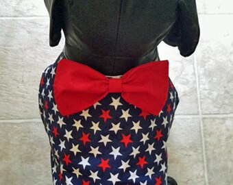 Patriotic Stars Galore Dog Vest with Bow Tie