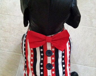 Patriotic Stars and Stripes Dog Vest with Bow Tie