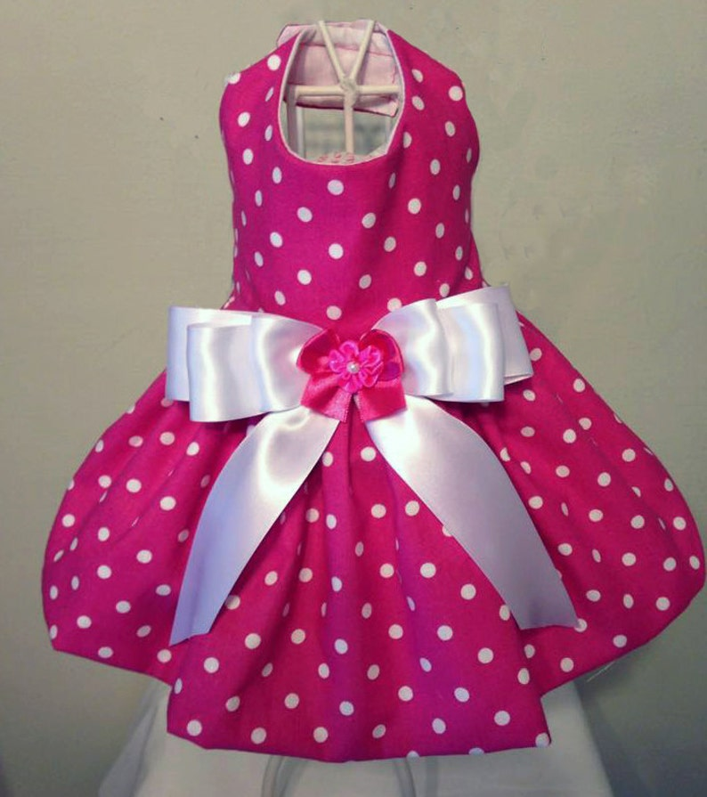 8025f7c9f41 Hot Pink With White Polka Dot Dog Dress