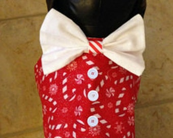 Candy Cane Dog Vest with Bow Tie