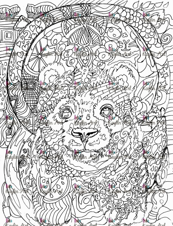 Hand drawn Coloring pages with panda, illustration for adult anti ... | 743x570