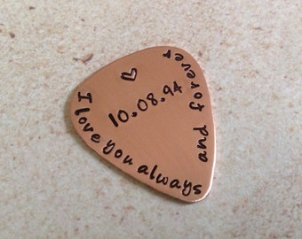 Copper Guitar Pick , I love you Alway and forever hand stamped.with a special date or initials, boyfriend, girlfriend gifts,