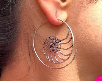 Silver Spiral Geometrical Clip On Drop Earrings