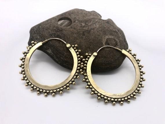 ethnic earring A+Brass earrings brass geometric earring hoops mandala sacred geometry brass earring Festival earring