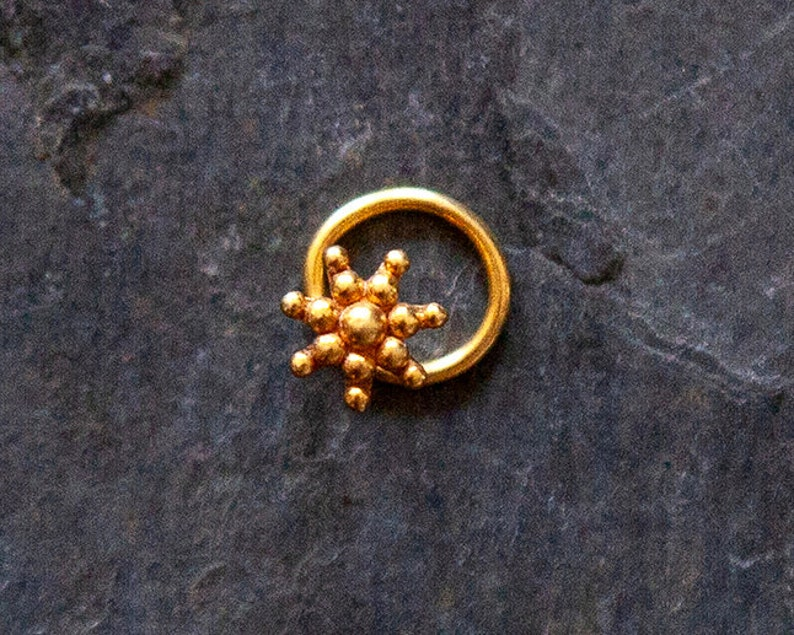 S480 Gold Plated Sun Nose Stud  Gold Nose Stud  Tribal Jewelry  Indian Nose Piercing  Burning Man Style  Men/'s Nose Stud NEW