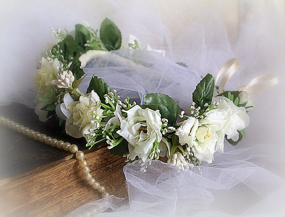 Flower Crown White Rose Headband Floral Crown Floral Wedding  fa1f7fa641b