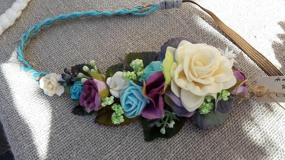 Fatto A Mano Naturale Floreale Capelli Fiore Della Vite Corona made in vostra scelta di colori
