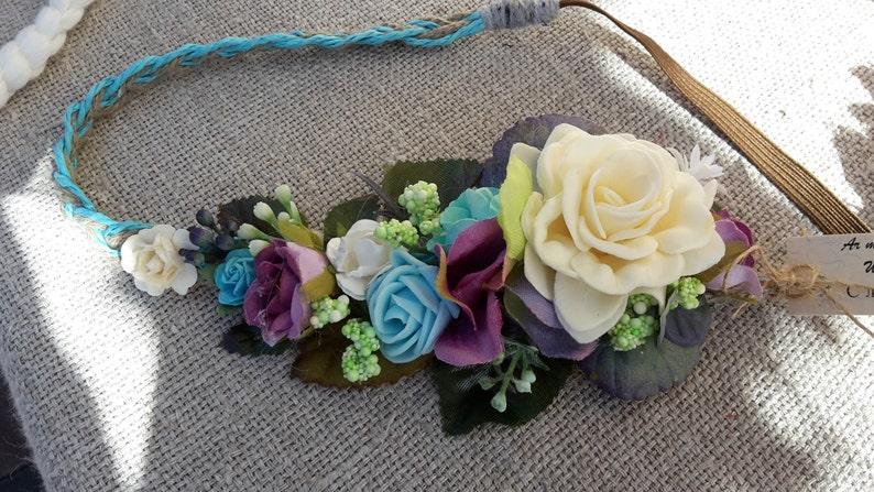 50130cc52 Azul flor corona cinta elástica azul boda rosa turquesa pelo