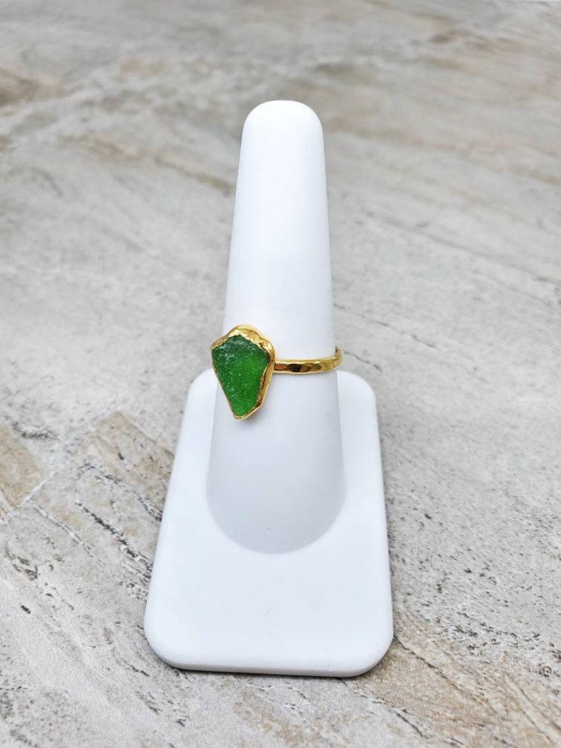 Kelly Green colored sea glass gold plated bezel ring