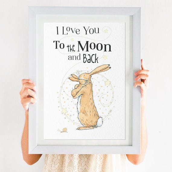 Gift ART PRINT Guess How Much I Love You Quote illustration Wall Art Nursery