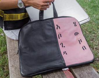 Abugida leather laptop bag