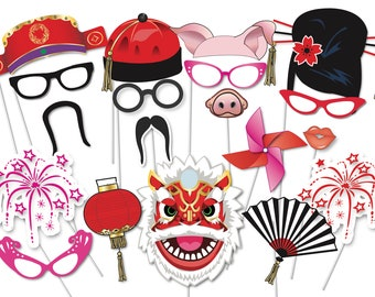 50a5976072 Chinese New Year Party Photo booth Party Props Set - 35 Piece PRINTABLE -  Year of the Pig Photo Booth Props