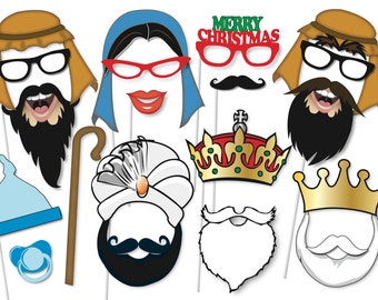 christmas photobooth props party set 50 piece printable traditional christmas photo booth props nativity jesus instant download pdf