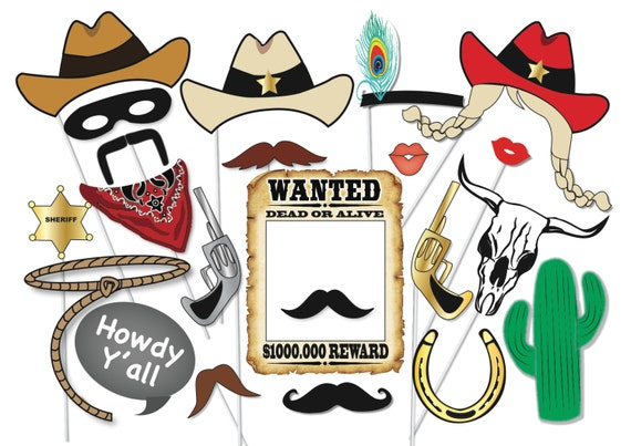 Cowboy Or Cowgirl Photo Booth Party Props Set 25 Piece Etsy