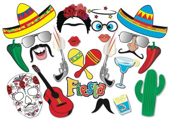 Cinco De Mayo Mexican Fiesta Party Photo Booth Props Set 22 Etsy