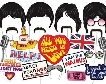 Vintage Rock Star Photo Booth Props, Rock Star Party Photo Booth Props, Beatles Inspired Party Photobooth Props - PRINTABLE- 1960's