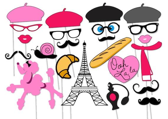 Paris Photo Booth Party Props Set 23 Piece Printable Etsy