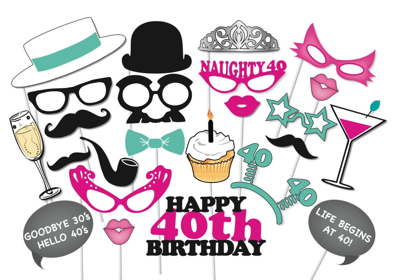 40th Birthday Photobooth Party Props Set 26 Piece Printable Etsy