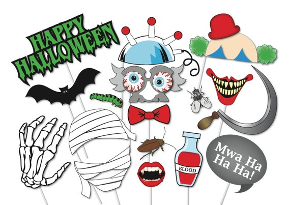 Halloween Photo booth Props Set 37 Piece PRINTABLE Witch | Etsy