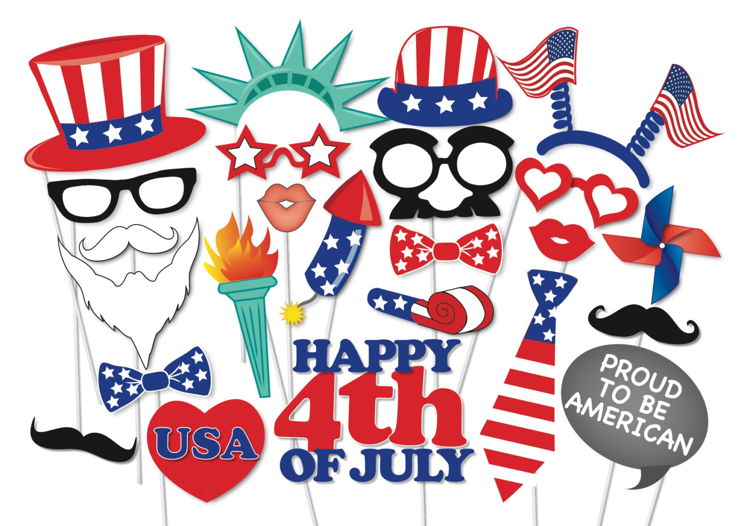 4th Of July Party Photo Booth Props Set 24 Piece Printable Etsy