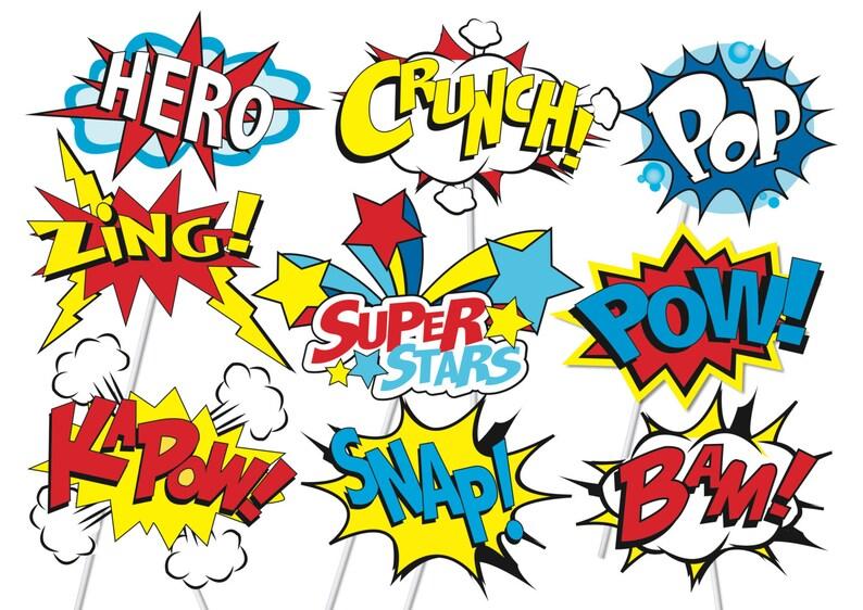 photo regarding Free Printable Superhero Photo Booth Props called Superhero Stage Bash Picture Booth Props or Superhero cake toppers - Printable - Loads of Pleasurable!! Pop artwork