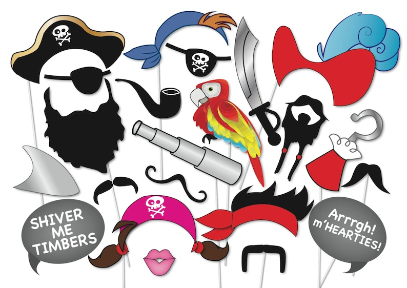 photograph relating to Printable Pirate Hat called Pirate Occasion Image booth Props Preset - 22 Piece PRINTABLE - moustache, beard, pirate eye patch, pirate hat, hook, peter pan