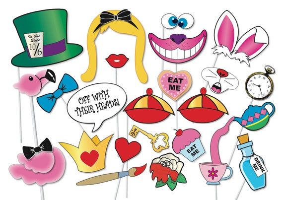 Alice In Wonderland Party Photo Booth Props Set 33 Piece Etsy