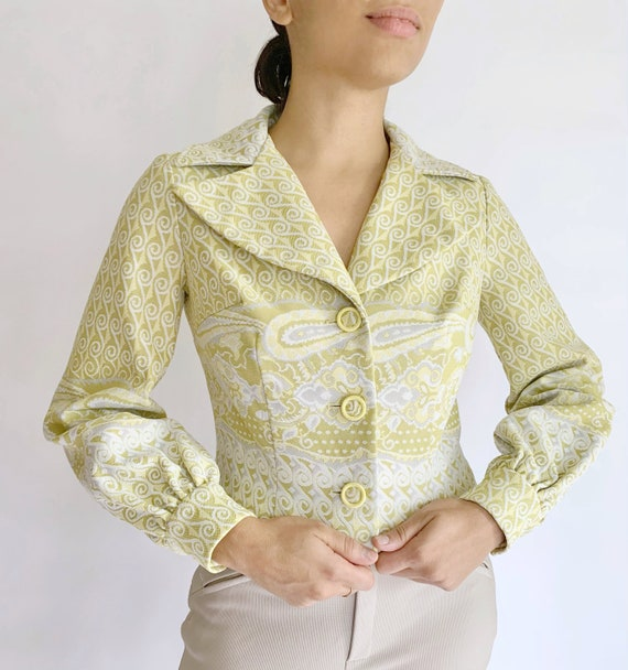 Vintage 1970's Mel Warshaw Paisley Lime Green Crop