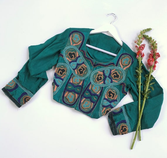 Vintage 1960's Embroidered Tie Back Blouse