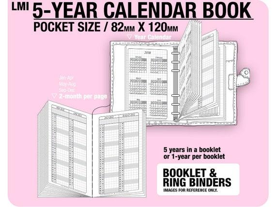 Pocket Size 5 Year Calendar Book 2019 2020 2021 2022 2023 Etsy