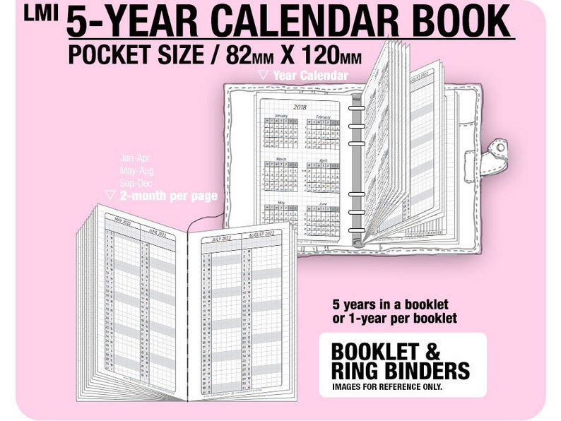 Pocket size 5-year Calendar Book / 2020 2021 2022 2023 ...