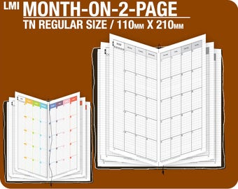 MO2P January to December 2018 / TN REGULAR size month-on-2-page - Traveler's Notebook Printable