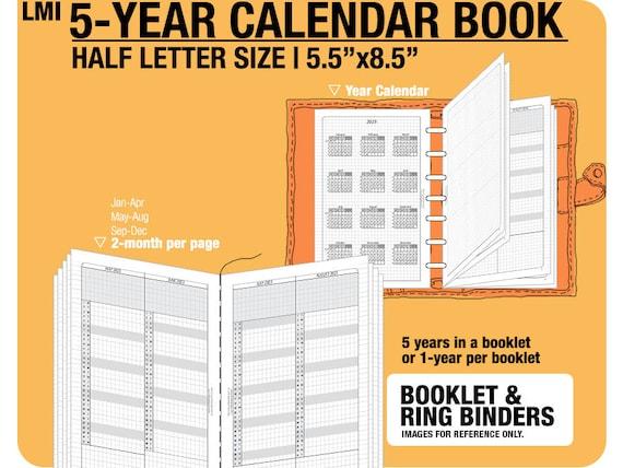 Half Letter 5 Year Calendar Book 2019 2020 2021 2022 2023 Etsy